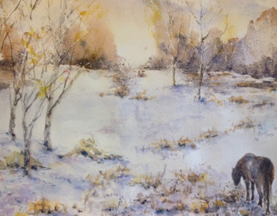 Landscape - Lonely Pony - Hindhead Common - Surrey Artist Ingrid Skoglund - Guildford Art Society, Village Artists, Pirbright Art Club, Normandy Artists and Wes