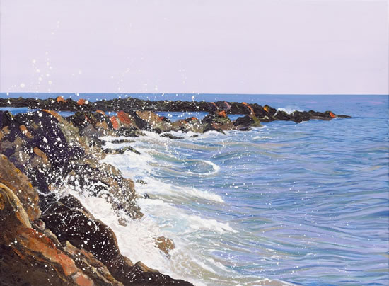 Landscape - Rocks - Sicilian Sea II - Sicilian Artist Teresa Scannella - Surrey Artists Gallery - White Rose Art Group Woking