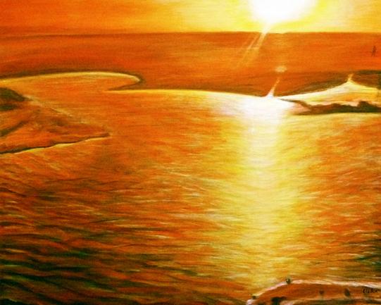 Landscape - Salt Lake, Tunisia - Surrey Artist Usha Chambore - Acrylic Paintings and Prints