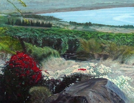 Landscape - Sea of Galilee - View from the Church of Beatitudes - Surrey Artist Usha Chambore - Acrylic Paintings and Prints