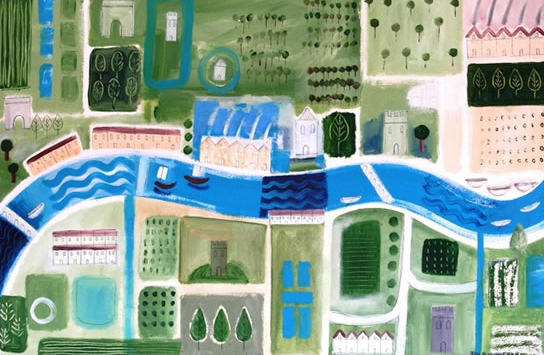 Large Map Illustration - Hampshire Artist Jan Rippingham - Paintings in Acrylics - Surrey Art Gallery