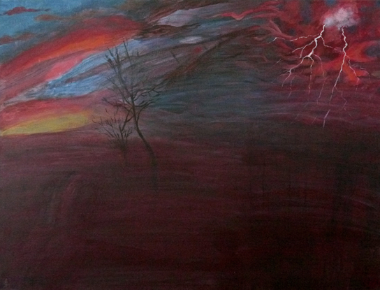 Lightening - Life - Surrey Artist Usha Chambore - Acrylic Paintings and Prints
