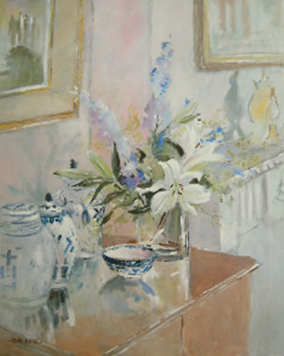 Lilies and Ginger Jars - Still-Life - Kim Page - Paintings in Watercolour and Oil - Surrey Art Gallery - England