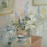 Lilies and Ginger Jars – Still-Life – Kim Page – Paintings in Watercolour and Oil – Surrey Art Gallery – England