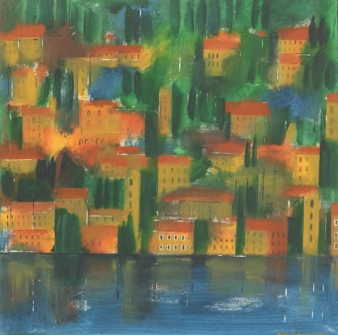 Limone, Italy - Hampshire Artist Jan Rippingham - Paintings in Acrylics - Surrey Art Gallery