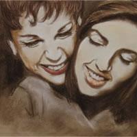 Liza Minnelli and Judy Garland – Moment Between Mother and Daughter – Jennifer Morris – Portraiture Artist – Sussex Art Gallery