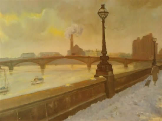 London Embankment, River Thames - Snow - James Carey-Wilson - Fine Art and Specialist Decorative Painting - Surrey Art Gallery