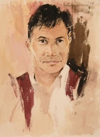 Man With Waistcoat - Kim Page - Paintings in Watercolour and Oil - Surrey Art Gallery - England