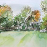 Marble Hill Park – Landscape – Nerissa Davies – Puttenham Artist Painting in Watercolours – Surrey Art Gallery