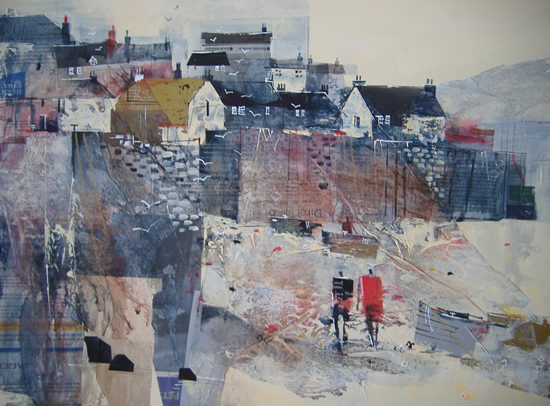 Mevagissey, Cornwall - Low Tide - Nagib Karsan - Artist in Watercolours, Mixed Media and Collage - Guildford Art Society