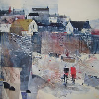 Mevagissey, Cornwall – Low Tide – Nagib Karsan – Artist in Watercolours, Mixed Media and Collage – Guildford Art Society