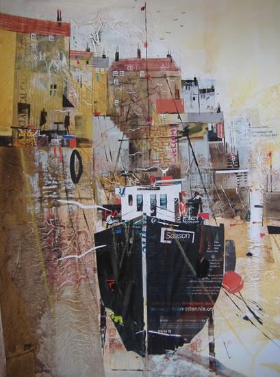 Mevagissey, Cornwall - Mooring 2 - Nagib Karsan - Artist in Watercolours, Mixed Media and Collage - Guildford Art Society