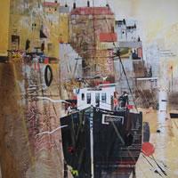 Mevagissey, Cornwall – Mooring 2 – Nagib Karsan – Artist in Watercolours, Mixed Media and Collage – Guildford Art Society