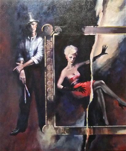 Modern Art - Torn Picture - Topper - Surrey Artist Ronnie Ireland - Guildford Art Society, Farnham Art Society, Woking Art Society