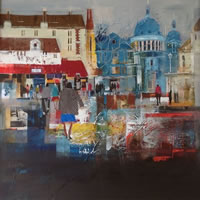 Montmartre Quarter Paris, France – Nagib Karsan – Artist in Watercolours, Mixed Media and Collage – Dorking Group of Artists