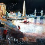 Moonlit Stroll, River Thames, London – Nagib Karsan – Artist in Watercolours, Mixed Media and Collage – Buckingham Fine Art Publishers Ltd