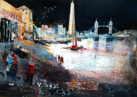 Moonlit Stroll, River Thames, London - Nagib Karsan - Artist in Watercolours, Mixed Media and Collage - Buckingham Fine Art Publishers Ltd
