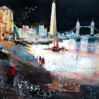 Moonlit Stroll, River Thames, London – Nagib Karsan – Artist in Watercolours, Mixed Media and Collage – Buckingham Fine Art Publishers Ltd