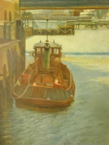 Moored Boat - James Carey-Wilson - Fine Art and Specialist Decorative Painting - Surrey Art Gallery