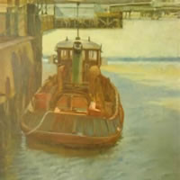 Moored Boat – James Carey-Wilson – Fine Art and Specialist Decorative Painting – Surrey Art Gallery