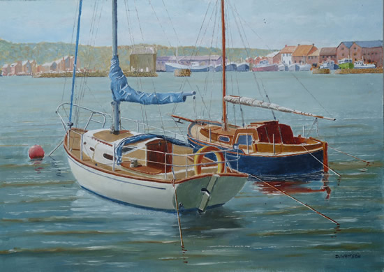 Moored Yachts, Howth Harbour, Dublin - David Whitson - Paintings in Oils - Woking Society of Arts - Surrey Art Gallery