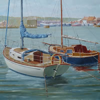 Moored Yachts, Howth Harbour, Dublin – David Whitson – Paintings in Oils – Woking Society of Arts – Surrey Art Gallery