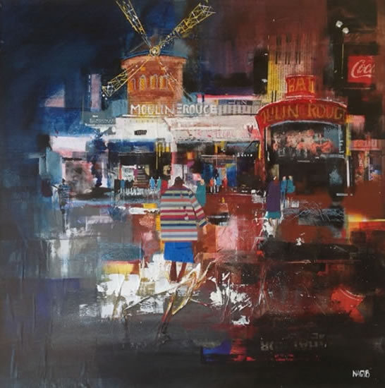 Moulin Rouge, Paris, France - Nagib Karsan - Artist in Watercolours, Mixed Media and Collage - Guildford Art Society