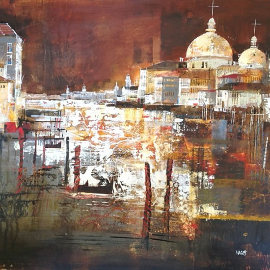 Nightime, Grand Canal, Venice, Italy - Nagib Karsan - Artist in Watercolours, Mixed Media and Collage - Dorking Group of Artists