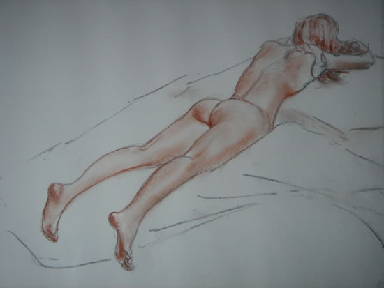 Nude Study - Paintings and Drawings in various Media - Vanessa Kennedy - Surrey Artist - Surrey Art Gallery