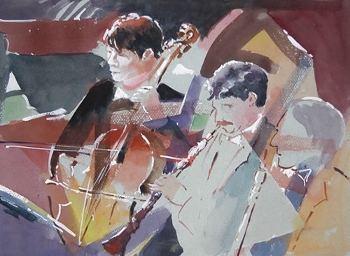 Orchestra - Bach Oratorio - Kim Page - Paintings in Watercolour and Oil - Surrey Art Gallery - England
