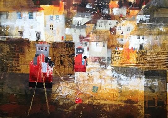 Overnight Moorings, Polperro, Cornwall - Nagib Karsan - Artist in Watercolours, Mixed Media and Collage - Guildford Art Society