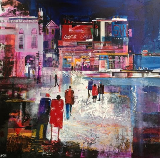 Picadilly Circus London - Out Late - Nagib Karsan - Artist in Watercolours, Mixed Media and Collage - Buckingham Fine Art Publishers Ltd