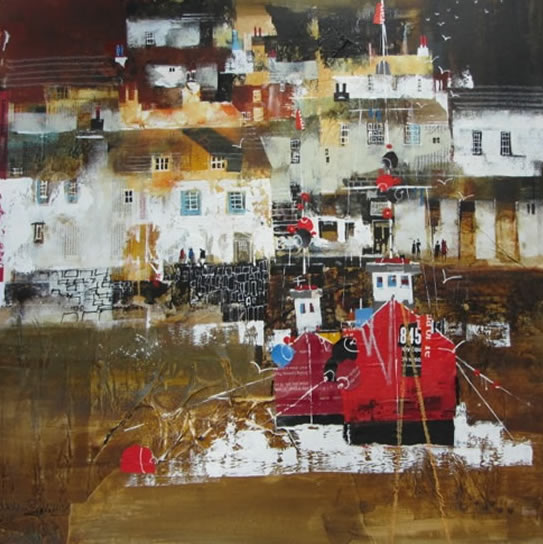 Polperro, Cornwall - Evening Stroll - Nagib Karsan - Artist in Watercolours, Mixed Media and Collage - Guildford Art Society