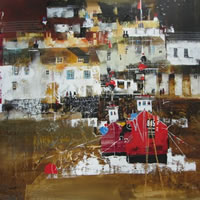 Polperro, Cornwall – Evening Stroll – Nagib Karsan – Artist in Watercolours, Mixed Media and Collage – Guildford Art Society