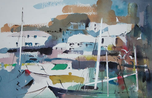 Polperro Cornwall - Kim Page - Paintings in Watercolour and Oil - Surrey Art Gallery - England