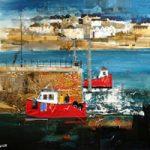 Polruan Ferry, Cornwall – Nagib Karsan – Artist in Watercolours, Mixed Media and Collage – Guildford Art Society