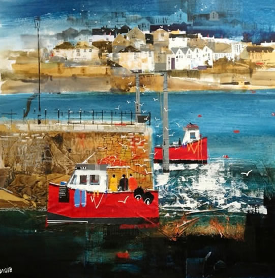 Polruan Ferry, Cornwall - Nagib Karsan - Artist in Watercolours, Mixed Media and Collage - Guildford Art Society