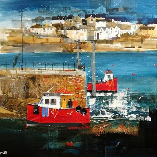 Polruan Ferry, Cornwall - Nagib Karsan - Artist in Watercolours, Mixed Media and Collage - Guildford Art Society