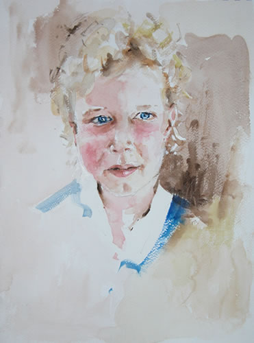 Portrait - Blue Eyes Blond Hair - Kim Page - Paintings in Watercolour and Oil - Surrey Art Gallery - England