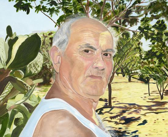 Portrait - Dad in Sicily - Sicilian Artist Teresa Scannella - Surrey Artists Portrait Gallery - White Rose Art Group Woking