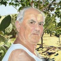 Portrait – Dad in Sicily – Sicilian Artist Teresa Scannella – Surrey Artists Portrait Gallery – White Rose Art Group Woking