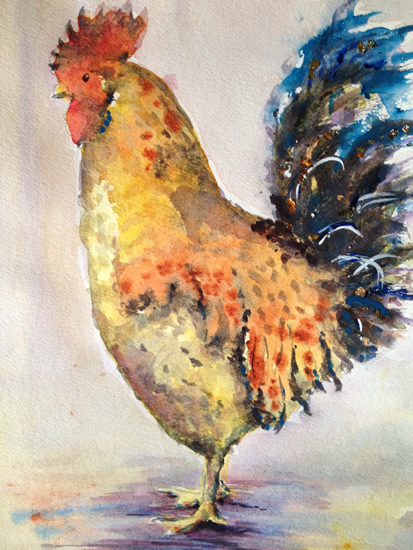Portrait - Oscar The Rooster - Surrey Artist Ingrid Skoglund - Guildford Art Society, Village Artists, Pirbright Art Club, Normandy Artists and West Surrey Artists