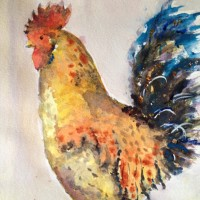 Portrait – Oscar The Rooster – Surrey Artist Ingrid Skoglund – Guildford Art Society, Village Artists, Pirbright Art Club, Normandy Artists and West Surrey Artists