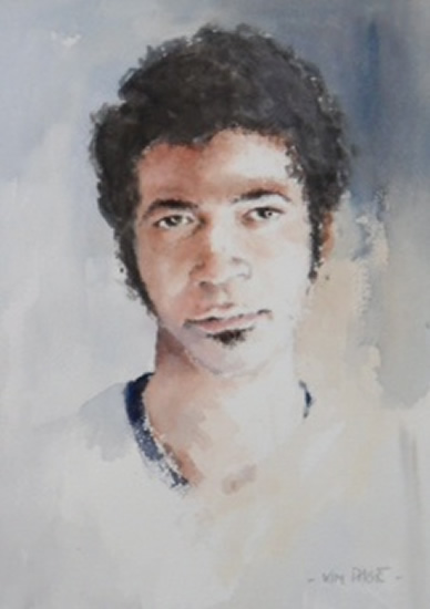 Portrait - Young Afro-Caribbean - Kim Page - Paintings in Watercolour and Oil - Surrey Art Gallery - England