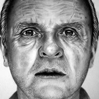 Portrait of Anthony Hopkins – Richard Johnson – Surrey and Hampshire Art Gallery – England
