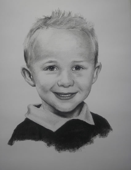 Portrait of Boy in Pencil, Charcoal and Pastels - Alex - Heidi Meadows - Surrey Art Gallery