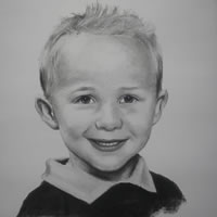 Portrait of Boy in Pencil, Charcoal and Pastels – Alex – Heidi Meadows – Surrey Art Gallery