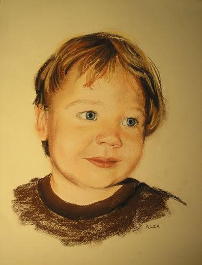 Portrait of Child - Alex - Pencil, Charcoal and Pastel Portrait - Heidi Meadows - Surrey Art Gallery