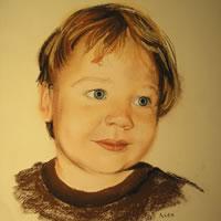 Portrait of Child – Alex – Pencil, Charcoal and Pastel Portrait – Heidi Meadows – Surrey Art Gallery