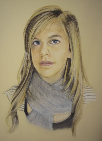 Portrait of Girl - Pencil, Charcoal and Pastels - Heidi Meadows - Surrey Art Gallery